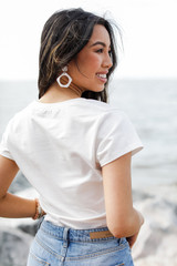 Scoop Neck Crop Top in White Back View