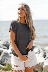 Black/White - Dress Up model wearing a Luxe Knit Tee
