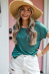Teal - Dress Up model wearing a Luxe Knit Tee with a straw hat
