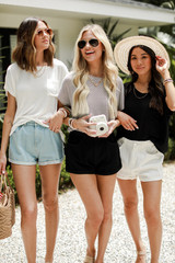 White/Black - Models wearing Luxe Knit Tees