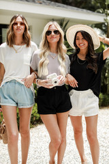 White/Black - Dress Up models wearing Luxe Knit Tees