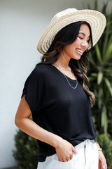 Luxe Knit Tee in Black Side View