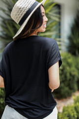 Luxe Knit Tee in Black Back View