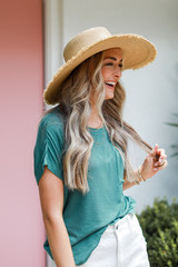 Luxe Knit Tee in Teal Side View