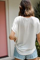 Luxe Knit Tee in White Back View