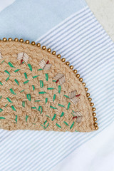 Close Up of a Straw Beaded Clutch