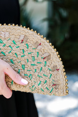 Model holding a Straw Beaded Clutch