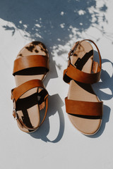 Flat Lay of Wedge Sandals on a white background