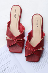 Red - Flat Lay of Square Toe Slide Sandals