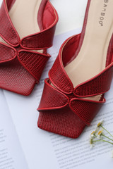 Red - Close Up of Square Toe Slide Sandals
