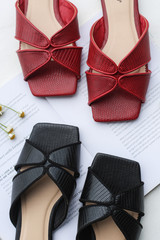 Close Up of black and red Square Toe Slide Sandals