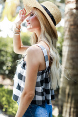 Gingham Babydoll Tank Side View