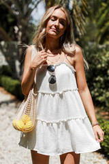 White - Linen Tiered Dress from Dress Up