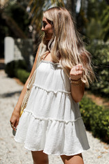 Linen Tiered Dress Front View