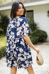 Floral Babydoll Dress in Navy Back View