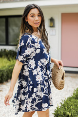 Floral Babydoll Dress in Navy Side View