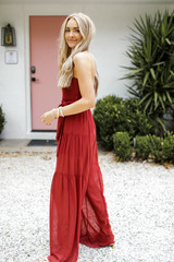 Model wearing a Strapless Jumpsuit