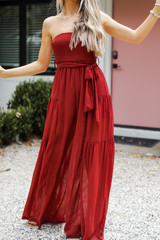 Dress Up model wearing a Strapless Jumpsuit