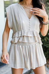Smocked Shorts in Taupe Front View