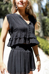Smocked Shorts in Black Side View