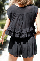 Smocked Shorts in Black Back View