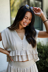 Taupe - Model wearing a Ruffled Top