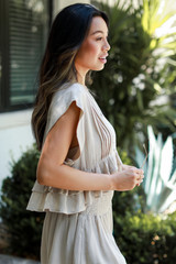Ruffled Top in Taupe Side View