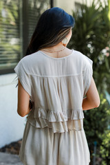 Ruffled Top in Taupe Back View