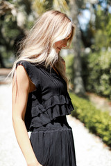 Ruffled Top in Black Side View