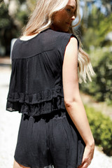 Ruffled Top in Black Back View