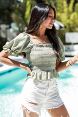 Smocked Puff Sleeve Top in Sage Side View