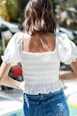 Smocked Puff Sleeve Top in White Back View