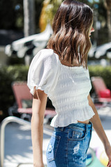 Smocked Puff Sleeve Top in White Side View