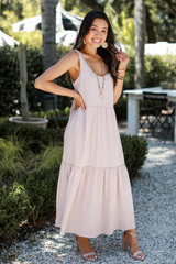 Tiered Midi Dress in Blush Side View