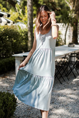 Tiered Midi Dress in Denim Front View