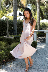 Tiered Midi Dress in Blush Front View