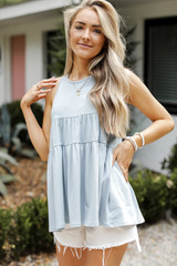 Denim - Dress Up model wearing a Tiered Tank with white shorts