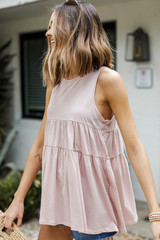 Tiered Tank in Blush Side View