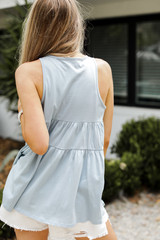 Tiered Tank in Denim Back View