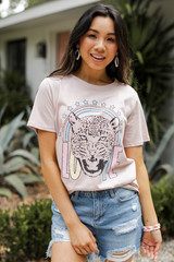 Model wearing a Blush Tiger Love Graphic Tee