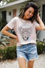 Blush Tiger Love Graphic Tee Front View