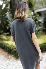 T-Shirt Dress in Charcoal Back View
