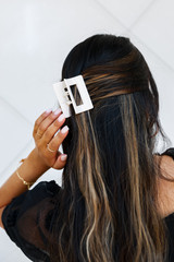 Model wearing a Claw Hair Clip