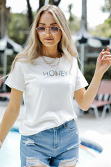 Honey Oversized Graphic Tee Front View
