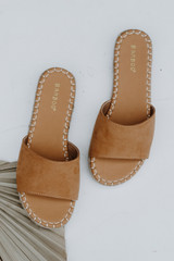 Flat Lay of Espadrille Slide Sandals in Tan