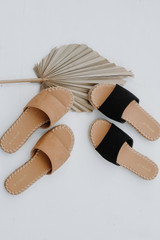 Flat Lay of both colors of Espadrille Slide Sandals