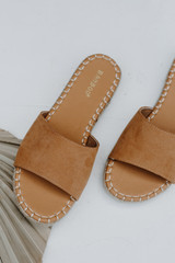Espadrille Slide Sandals in Tan on a white background