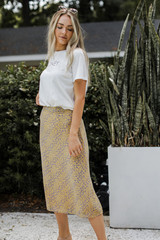 Model wearing a Floral Midi Skirt