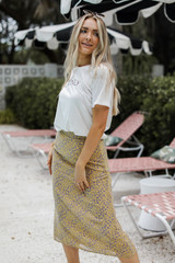 Dress Up model wearing a Floral Midi Skirt
