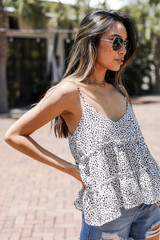 Dress Up model wearing a Spotted Babydoll Tank